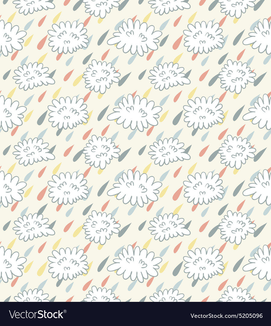 Seamless pattern with clouds and rain vector