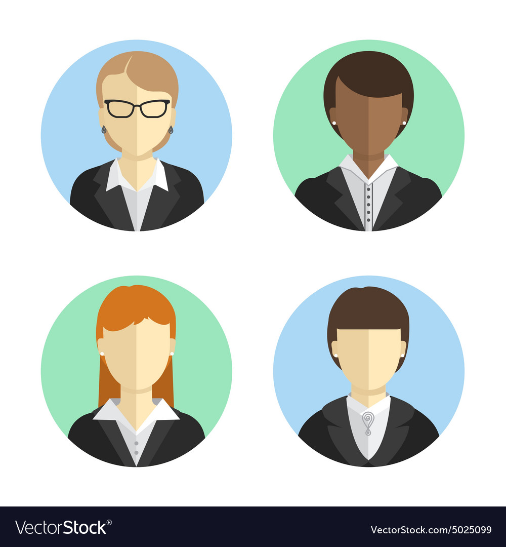 Avatars business women in costumes of different vector