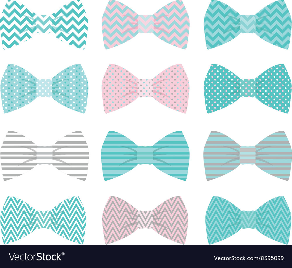 Cute pink bow tie collection vector