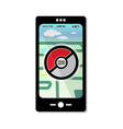 Prohibited pokemon on smartphone template map vector image