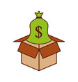 cardboard box with sack money save bank concept vector image