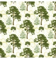 Seamless trees and floral pattern vector image