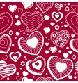 seamless pattern with contour hearts vector image