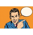 speaker businessman pointing finger pop art retro vector image
