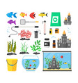 aquarium with fish blue water and equipment set vector image