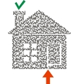 Black labyrinth house vector image