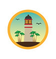 colorful circular frame with lighthouse and palm vector image
