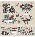 Doodle floral grouphand sketch element set vector image