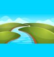 landscape cartoon river sun hill vector image