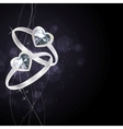 Two silver rings on black background vector image