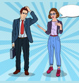 woman talking with businessman pop art vector image vector image