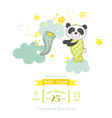 Baby Shower Card - Baby Panda Catching Stars vector image