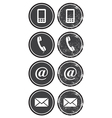 Contact web and internet retro icons set vector image vector image