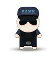 bank security officer cartoon 2d collector vector image