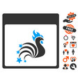 rooster fireworks calendar page icon with lovely vector image