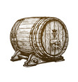 hand drawn wooden wine cask drink oak barrel vector image