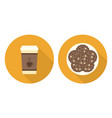 flat cup of coffee plate with cookies vector image