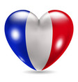 Heart shaped icon with flag of France vector image