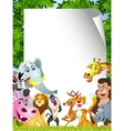 Animal cartoon with blank sign vector image