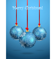 Christmas balls with ornament of snowflakes vector image