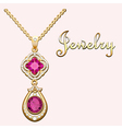 Pendant necklace with precious stones vector image vector image