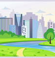 green city landscape with road river and trees vector image vector image