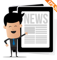 Young cartoon business man with News on tablet - vector image