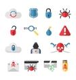 Hacker flat icons set with bug virus crack worm vector image