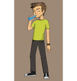 Boy drinking eps example exercise explanation vector image