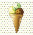 Funny ice cream balls in a cone vector image