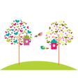 birdhouses on trees vector image