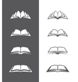 Black and white book icons set vector image