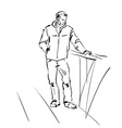 Black and white hand drawn of a mused man with his vector image