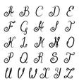 Calligraphy alphabet black vector image