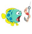 passionate cartoon worm and surprised fish vector image