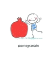 Pomegranate and people vector image