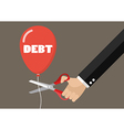 Big hand cutting debt balloon string with scissors vector image