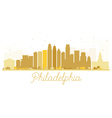 Philadelphia City skyline golden silhouette vector image