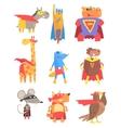 Animas Dressed As Superheroes Set Of Geometric vector image