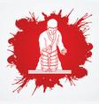 karate man breaking bricks vector image