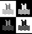 swimming pool sign  black and white icons vector image