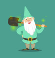 cute dwarf in a light blue jacket and hat standing vector image