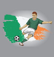 ireland soccer player with flag as a background vector image