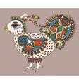 original retro cartoon chicken drawing symbol of vector image