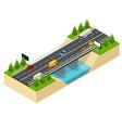 bridge highway over river isometric view vector image