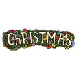 Christmas word on flowers vector image