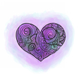 Doodle heart with watercolor imitation vector image