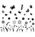 Flowers butterflies and dragonflies vector image