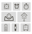 monochrome icons with different clocks vector image