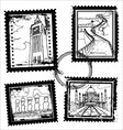 world landmarks stamps vector image